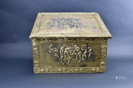 Old Wooden Box with Repousse Overlay