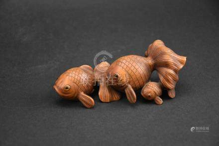 Hand Carved Wood Goldfish
