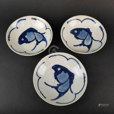 Blue and White Fish Dishes