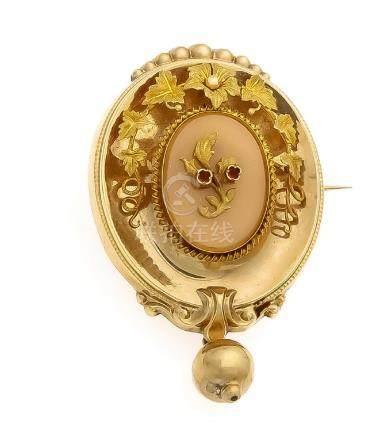 Schaumgoldbrosche um 1840 Rückseit Gold, mit einer