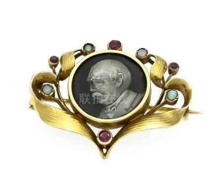 Opal-Rubin-Emaille-Portrait-Brosche GG 585/000 mit