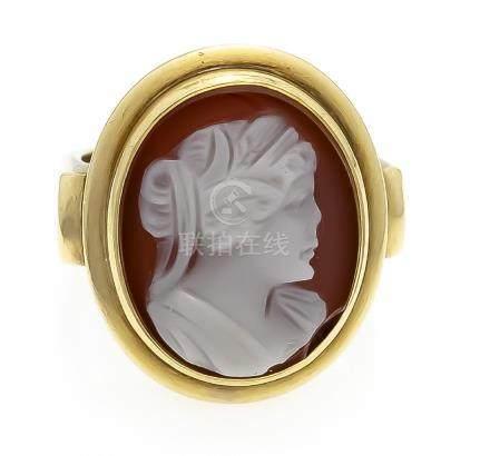 Achatgemmen-Ring GG 585/000 ovale Gemme 20 x 16 mm,