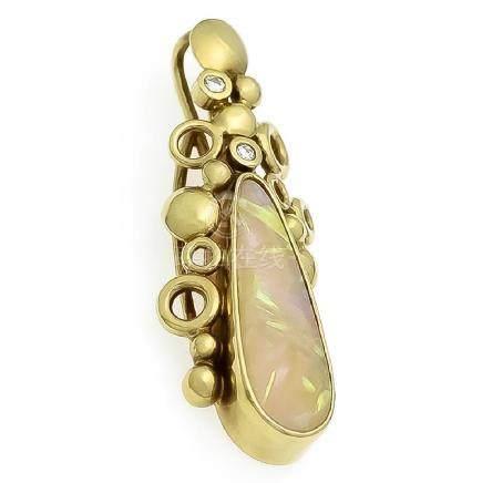 Opal-Brillant-Anhänger GG 585/000 mit ovalem