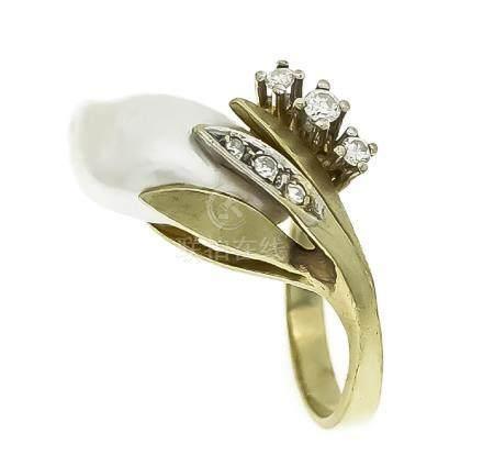 Perlen-Brillant-Ring GG/WG 585/000 mit einer Zuchtperle