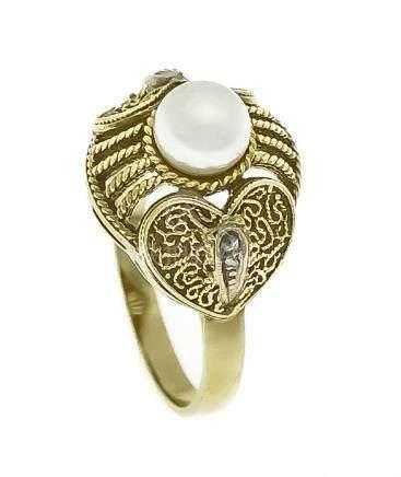 Fahrner-Akoyaperlen-Diamant-Ring GG 585/000 mit einer