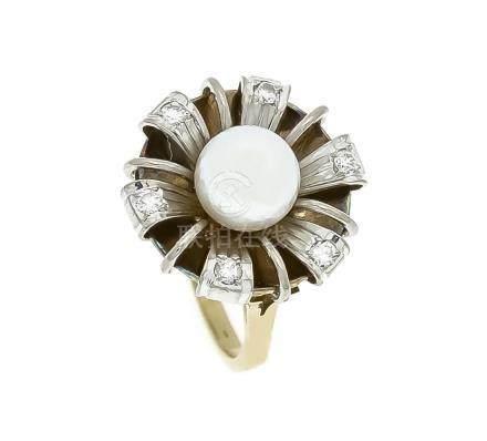 Akoya-Brillant-Ring GG/WG 585/000 mit einer weißen