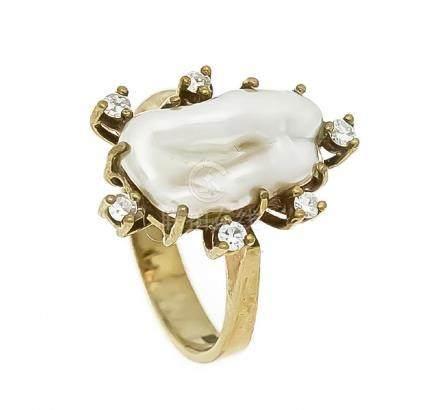 Zuchtperlen-Brillant-Ring GG 585/000 mit einer weiß