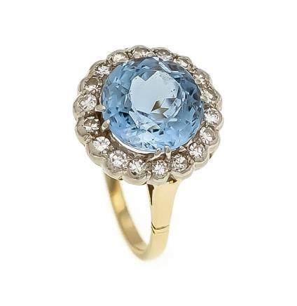 Blautopas-Diamant-Ring GG/WG 585/000 mit einem rund