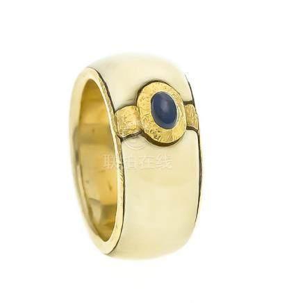 Saphir-Bein-Ring GG 900/000 mit einem ovalen