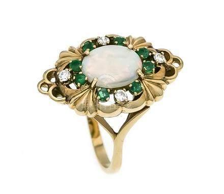Opal-Smaragd-Brillant-Ring RG 585/000 mit einem ovalen