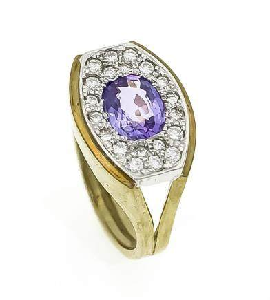 Amethyst-Diamant-Ring GG 585/000 mit einem oval fac.