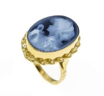 Achat-Gemmen-Ring GG 750/000 mit einer ovalen fein