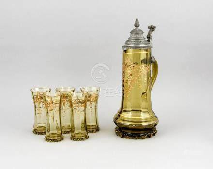 Antique German historicism glass carafe set. Mouth