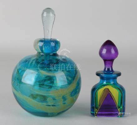 Two designer glass perfume bottles: 1x Bicchielli