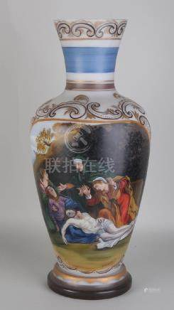 Large 19th century hand-painted opaline glass vase with