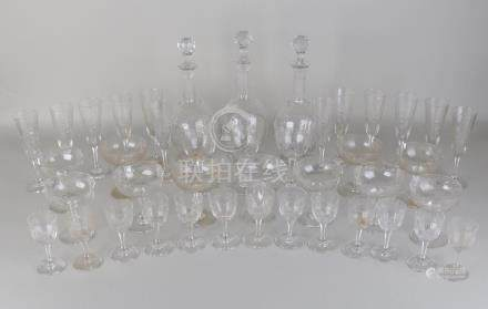 Large antique crystal glass service. Faceted.
