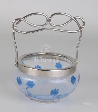 Antique Jugendstil glass candy holder with