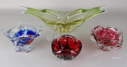Four artificial glass dishes. Second half of the 20th