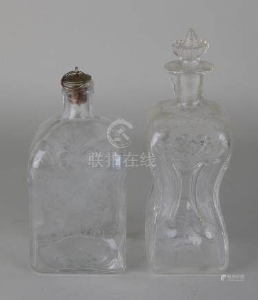 Two times old / antique etched glass jars. One squeeze