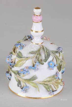Antique German Meissen porcelain bell with worked-up