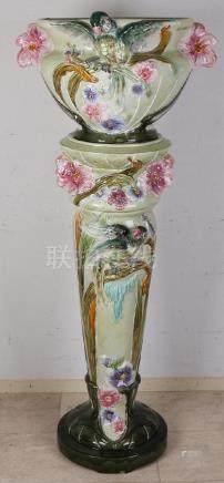 Very large Jugendstil Majolica pedestal + flowerpot