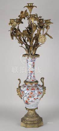 Capital Chinese porcelain candle holder with gilt