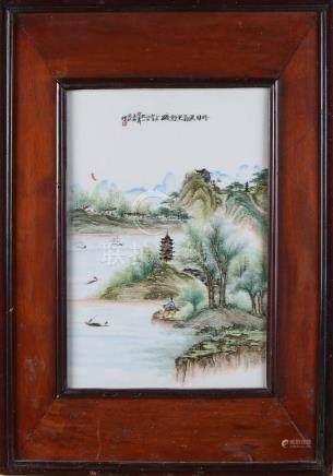 Antique Chinese porcelain plaque in original frame.