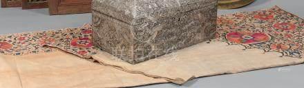 Grande tenture suzani, Asie centrale, XIXe sièclePanneau à six parties en coton