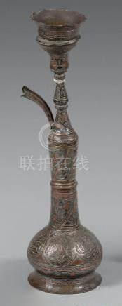 Narghilé en laiton incrusté d'argent et de cuivre, Proche-Orient, fin du XIXe s