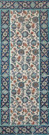 Panneau en céramique à décor floral, Turquie Ottomane, probablementKutahya, sec