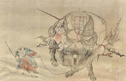 Deux estampes, l'une représentant Hotei assis sur un buffle, l'autre par Kuniyo