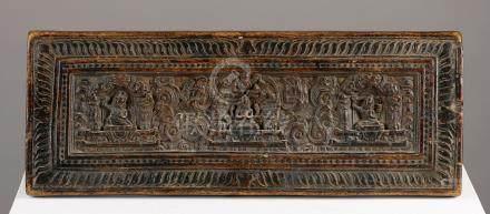Couverture de livreTibet ca 14°-16° siècleBois. 14 x 37,5 cmPetite couverture c