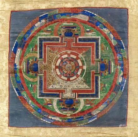 Mandala de SamvaraTibet ca 19° siècleDétrempe sur toile. 36 x 36 cm (hors monta