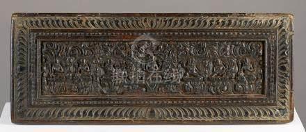 Couverture de livreTibet ca 14°-16° siècleBois. 15 x 37 cmPetite couverture cla