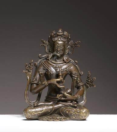 VajrasattvaArt Sino-Tibétain ca 18° siècleAlliage cuivreux incrusté d'or et d'a