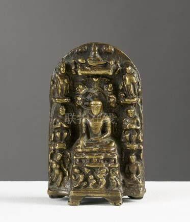 Scènes de la vie du BuddhaInde ou TibetAlliage cuivreux. H. 13,5 cmIntéressante