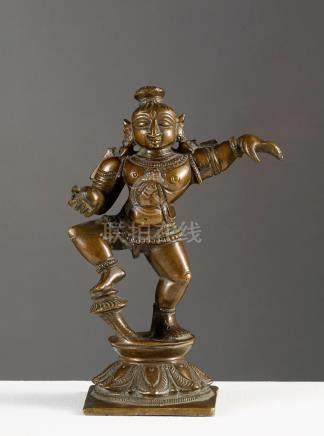 Krishna dansantInde méridionale ca 19° siècleAlliage cuivreux. H. 15,5 cmProven
