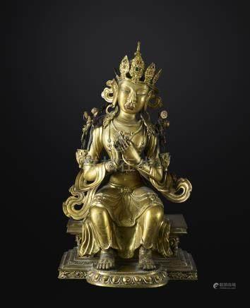MaitreyaChine. ca 18° siècleCuivre repoussé doré. H. 51,5 cmLe «Buddha à venir»