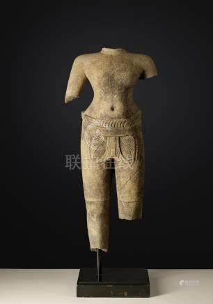 Divinité masculineArt Khmer (Cambodge - Laos- Thailande)Style dit de Preah Kô.