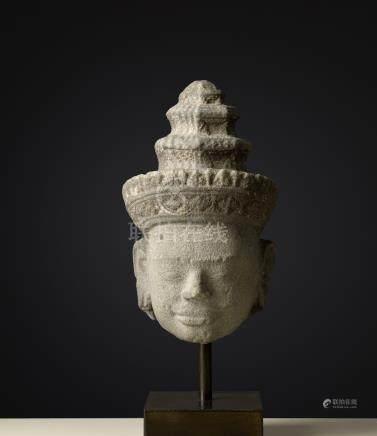 Tête de Hari-HaraArt Khmer (Cambodge - Laos- Thailande)Style dit du Bakheng. ca