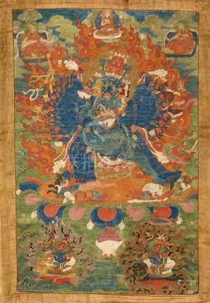 MahavarabhairavaTibet ca 19° siècleDétrempe sur toile. 54 x 36 cm (hors montage