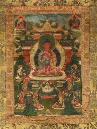 AmitabhaTibet ca 18°-19° siècleDétrempe sur toile. 45,5 x 31,5 cm (hors montage