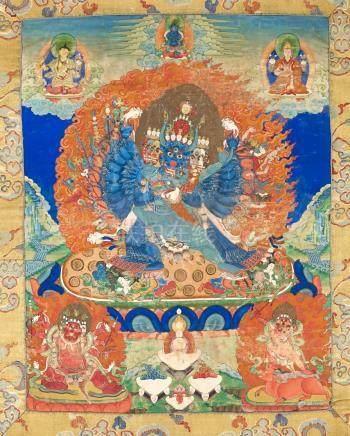 MahavarabhairavaTibet ca 19° siècleDétrempe sur toile. 41 x 32 cm (hors montage