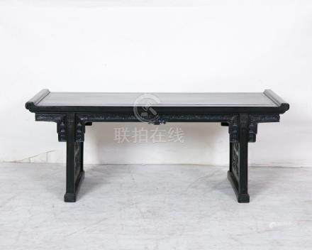 A CHINESE RARE ROSEWOOD TRESTLE-LEG TABLE,,QING