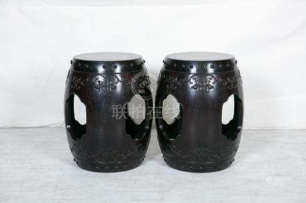 A PAIR OF  CHINESE ROSEWOOD WITH BURL DECORTICATION