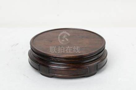A CHINESE ROSEWOOD BASE, QING DYNASTY.