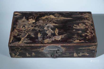 A CHINESE LACQUER WITH GOLD PAINTED LANDSCAPE BOX,QING