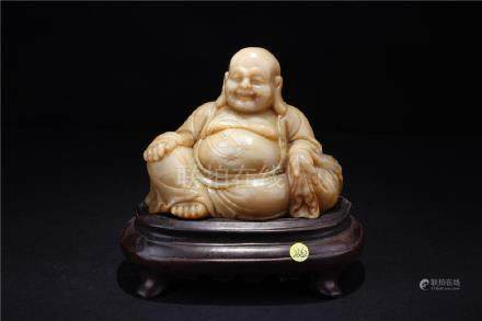 A CHINESE SOAPSTONE MAITREYA STATUE, MIDDLE QING