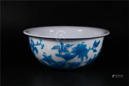 A CHINESE BLUE GLASS BOWL, QIANLONG PERIOD