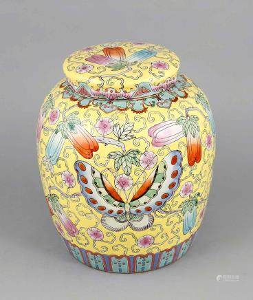 Large famille rose ginger pot, China, late 19th/early 20th c